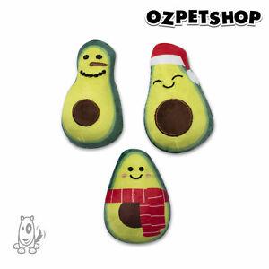 Christmas Minis Holiday Avocados 3 Pce Plush Set Squeaky Dog Toys Fringe Studios