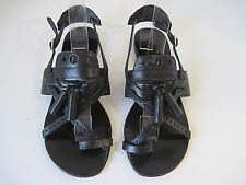 PROENZA SCHOULER Black Leather Strappy Toe Sandals Tassel Design Size 36 1/2