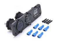 12V 24V Motorcycle Dual USB + Voltmeter + Cigarette Lighter Socket Panel 3in1
