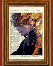 Shoto Todoroki Dictionary Art Print My Hero Academia Anime Picture
