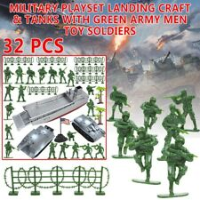 2 pcs Military Playset Landing Craft & Tanks with Green Army Men Toy Soldiers