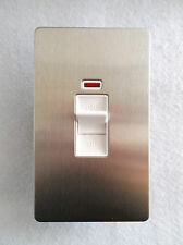 2 GANG 45A SWITCH + NEON IN STAINLESS STEEL FINISH WITH WHITE INSERTS GU4421WSS