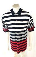 Avirex Black/White/Gray/Red Striped Cotton Short Slv Mens Shirt Polo Size XL