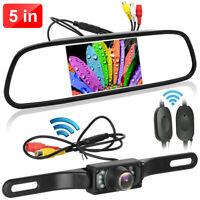 """Wireless Car Backup Rear View Camera + 5"""" HD LCD Mirror Monitor Night Vision Kit"""