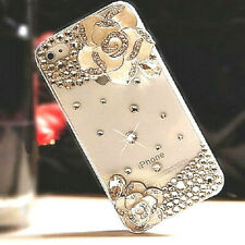 NEW DIAMOND DESIGNER BLING DIAMANTE FLOWER CASE COVER GIFT MOBILE PHONES UK POST