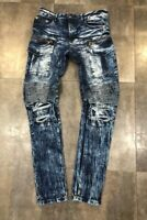 NEW MEN FASHION DENIM BIKER SLIM FIT JEANS WAVE INDIGO