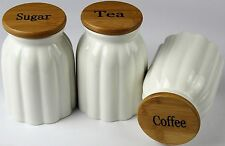 New best quality Ribbed Jars Tea,coffee and Sugar Jars Ceramic with bamboo lid