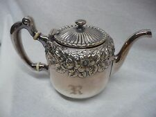 Copyrighted 1888 Gorham Co 0870 Silver Soldered Teapot Embossed Flowers Monogram