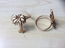 Vintage Set of 7 Solid Brass Napkin Rings with Palm Trees