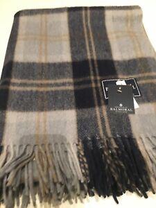 House Of Balmoral Warm Wool Rug Blanket In Silver Bannockbane Tartan Check Throw
