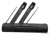 PYLE PROFESSIONAL DUAL VHF CORDLESS WIRELESS MICROPHONE SYSTEM DJ KARAOKE 2 MICS