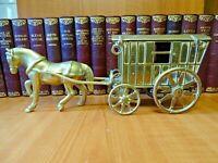 """B33 - VINTAGE BRASS HORSE DRAWN GYPSY CARAVAN  13  1/2""""  /  34.3cm"""