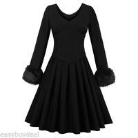 Womens Black Fur Dress Vintage 1950s Rockabilly Pinup Evening Party Swing Dress