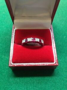 18CT White Gold Square Ruby & Diamond 1/2 ET Diamond Ring 'O' RRP £2100