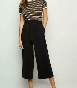 New Look Tie Waist Black Crop Cropped Wide Leg Culotte Trousers sizes 6-16