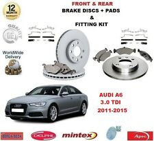 FOR AUDI A6 3.0 TDI 2011-2015 FRONT + REAR BRAKE DISCS & PADS + FITTING KIT