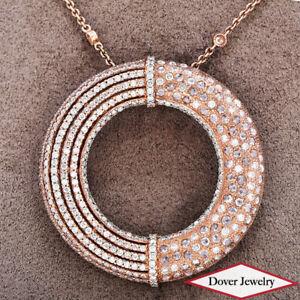 Estate 5.20ct Diamond 18K Gold Circle Cluster Pendant Chain Necklace 17.8 Gr NR