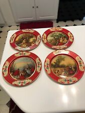 Vintage Daher Decorated Ware Metal Plate Made In Belgium Lot Of 4