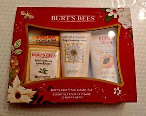 Burt's Bees Face Essentials Gift Set 4 pc Lip Balm Deep Pore Cream Face Cleanse