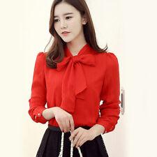 Women's Tops Ladies OL Long Sleeve Vintage Fashion Office Plain Blouse