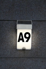 Solar Hausnummer mit LED Hausnummernleuchte Edelstahl mit Bewegungsmelder LA2-09