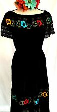 Hand Embroidery Crochet Black Mexican Dress Floral Peasant Off shoulder Vtg 2XL