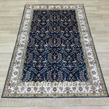 Yilong 4'x6' Blue Hand Knotted Silk Carpets All Over Living Room Area Rug 267B