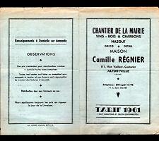 """ALFORTVILLE (94) VIN BOIS CHARBON """"CHANTIER DE LA MAIRIE / Camille REGNIER"""" 1961"""