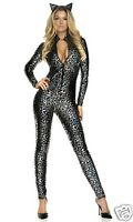 Sexy Forplay Lustrous Lynx Silver Metallic Leopard Catsuit Jumpsuit Costume 2pc