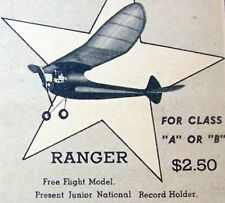 "Vintage RANGER PLANS + Patterns & Instructions to Build 44"" OT FF Model Airplane"