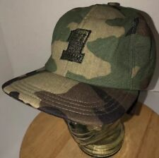 Vintage FIRST COMM #1 70s 80s USA Army Camo Hat Cap EAR FLAPS Medium Fitted