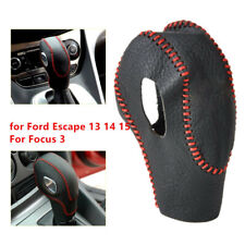 Leather Car Gear Shift Knob Cover Protector Kit For Ford Escape 13 14 15 Focus 3