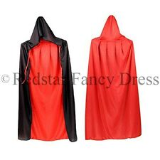 DELUXE ADULT VAMPIRE DRACULA CAPE REVERSIBLE BLACK & RED FANCY DRESS HALLOWEEN