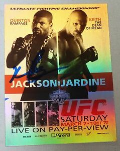 Quinton Rampage Jackson Signed 2010 Topps UFC 96 Fight Poster Card MMA Autograph