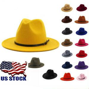 USA Women Mens Felt Belt Buckle Fedora Hat Wide Brim Outback Hats Cowboy Cap