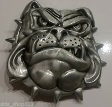 ✖BULL DOG Belt Buckle ✖ Metal Satin nickel/Brushed Silver color Bulldog dawg