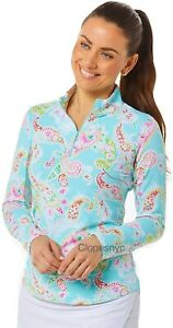 IBKUL Sharon 1/4 Zip Mock Neck Top Blue Paisley Long Sleeve M L UPF 50 Golf