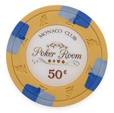 "25 ct Orange 50 Cents $0.50 ""Monaco Club"" Series 13.5 Grams Poker Chips"