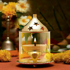 Akhand Diya Decorative Brass Oil Lamp Lantern   Home Decor Gift   Puja Lamp,