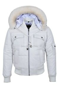 Mens Puffer Jacket Bomber Style White Real Leather Hoodie Jacket Pilot 6 Puffer
