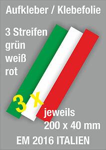 3er Set WM EM Italien Auto PKW Aufkleber Viper Streifen Fan Meile Fahne Flagge