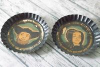 Vintage Cartoon Amish Man Woman Black Tin Pie Tray Wall Hangings