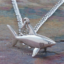 925 sterling silver GREAT WHITE SHARK 3D Charm Ocean Sea Pendant Necklace