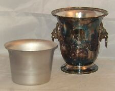 "VINTAGE SHEFFIELD SILVER CO 9.25"" SILVERPLATE LION KNOCKERS ICE BUCKET / TROPHY"