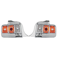 APC Black Diamond Cut Tail Light Lamps Chrome Housing 2005-2009 Ford Mustang