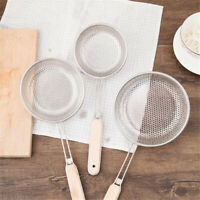 Wooden Handle Filter Cooking Kitchen Strainer Stainless Steel Wire Mesh Sieve HO
