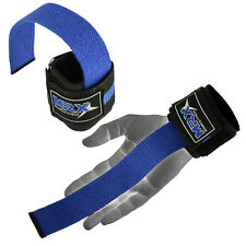 Weightlifting Bar Straps Wrist Support Wraps MRX Gym Bodybuilding Bandages Blue