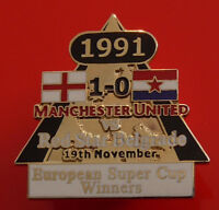 Man Utd Pin Badge Manchester United Football Club FC European Super Cup 1991