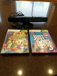 Xbox 360 Kinect With 2 Games Just Dance 3 and Kinect Adventures