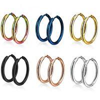 STAINLESS STEEL HOOP EARRINGS EASY SNAP HINGE CLOSURE 10mm-20mm (Sold In Pairs)